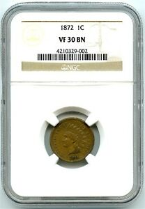 1872 INDIAN HEAD CENT NGC VF 30 BN PROBLEM FREE COIN ATTRACTIVE KEY DATE