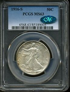 Click now to see the BUY IT NOW Price! 1916 S 50C WALKING LIBERTY HALF DOLLAR MS63 PCGS 85189005 CAC