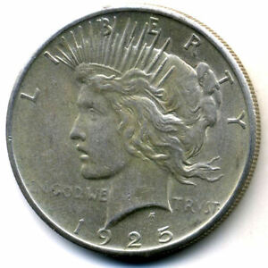 1925 P AU PEACE 90  SILVER DOLLAR ABOUT UNCIRCULATED LIBERTY HEAD $1 COIN 3990
