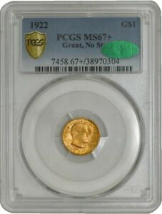 1922 $ GOLD GRANT NO STAR DOLLAR MS67  SECURE PLUS PCGS   CAC 942251 3