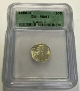 1959 D SILVER ROOSEVELT DIME   ICG MS 67   BRIGHT BOLD FLASHY AND NICE