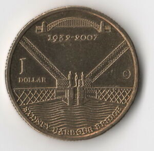 2007 $1 DOLLAR COIN SYDNEY HARBOUR BRIDGE COUNTERSTAMP C MINTMARK    FREE POST