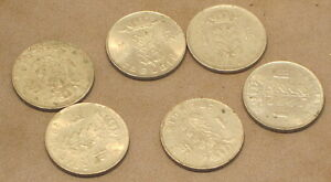 SIX 1 FRANC COINS FROM BELGIUM