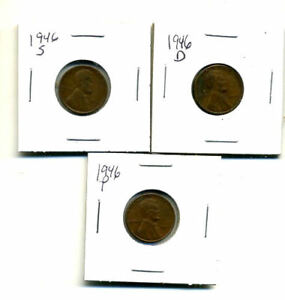 1946 P D S WHEAT PENNIES LINCOLN CENTS CIRCULATED 2X2 FLIPS 3 COIN PDS SET1382