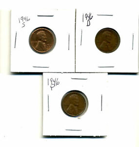 1946 P D S WHEAT PENNIES LINCOLN CENTS CIRCULATED 2X2 FLIPS 3 COIN PDS SET1500