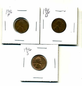 1946 P D S WHEAT PENNIES LINCOLN CENTS CIRCULATED 2X2 FLIPS 3 COIN PDS SET1662