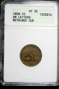 1858   ANACS VF35 SM LETTERS RETAINED CUD FLYING EAGLE CENT   B20240