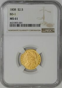 Click now to see the BUY IT NOW Price! 1808 $2 1/2 GOLD CAPPED BUST BD 1 MS61 NGC  941291 1