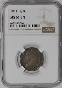 Click now to see the BUY IT NOW Price! 1811 HALF CENT 1/2C C 1 R.4 MS61 BN NGC 941674 1