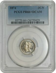 Click now to see the BUY IT NOW Price! 1874 THREE CENT 3CN PR66  DCAM PCGS 942869 5