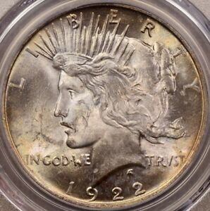 1922 PEACE DOLLAR PCGS MS63 LOVELY IRIDESCENT TONING     DAVIDKAHNCOINS