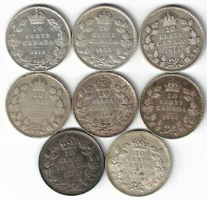 8 X CANADA TEN CENTS DIMES KING GEORGE V STERLING SILVER COINS 1912   1919