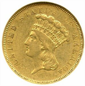 1854 O $3 GOLD PIECE INDIAN PRINCESS NGC AU 50 REALLY NICE GOLD COIN