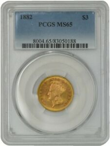 1882 $3 GOLD INDIAN MS65 PCGS 942430 2