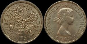 GREAT BRITAIN 6 PENCE 1953  CHOICE UNC   QEII CORONATION ISSUE