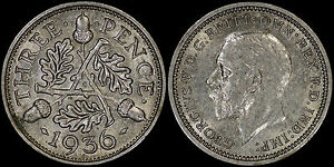 GREAT BRITAIN 3 PENCE 1936 SILVER  UNC/BU   NICE COIN