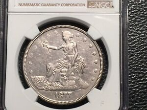 1877 TRADE DOLLAR NGC AU DETAILS THIS  COIN HAS NOT NEEN HEAVILY CLEANED