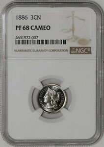 Click now to see the BUY IT NOW Price! 1886 THREE CENT 3CN PF68 PR68 CAMEO NGC 942124 1