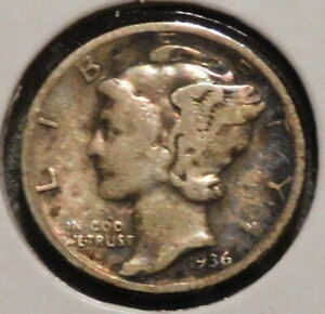 MERCURY SILVER DIME   1936 S   GOTTA SELL 'EM ALL    $1 UNLIMITED SHIPPING 049
