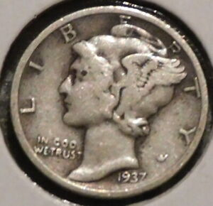 MERCURY SILVER DIME   1937 S   GOTTA SELL 'EM ALL    $1 UNLIMITED SHIPPING 056