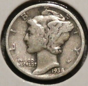 MERCURY SILVER DIME   1938 D   GOTTA SELL 'EM ALL    $1 UNLIMITED SHIPPING 061