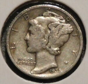 MERCURY SILVER DIME   1938 D   GOTTA SELL 'EM ALL    $1 UNLIMITED SHIPPING 062
