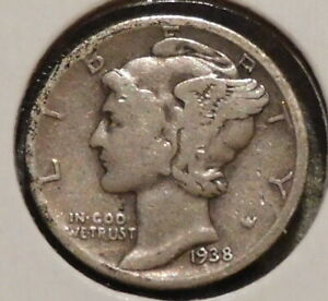 MERCURY SILVER DIME   1938 D   GOTTA SELL 'EM ALL    $1 UNLIMITED SHIPPING 063