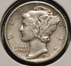 MERCURY SILVER DIME   1941 D   GOTTA SELL 'EM ALL    $1 UNLIMITED SHIPPING 081