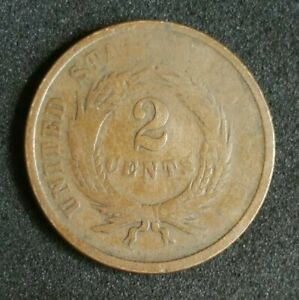 ALIGNMENT ERROR US 1864 TWO CENT 2C PIECE CIVIL WAR SHIELD MOTTO 150 YR OLD