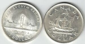 2 X CANADA SILVER DOLLARS KING GEORGE VI .800 SILVER COINS 1939 & 1949