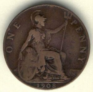 COIN E35 GREAT BRITAIN 1 PENNY 1908 KM 794 BRONZE KING EDWAED VII