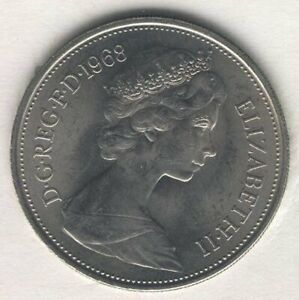 COIN E66 GREAT BRITAIN 5 NEW PENCE 1968 COPPER NICKEL KM 912 UNCIRCULATED