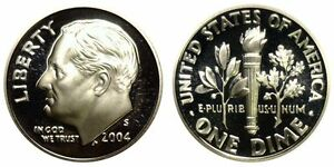 SILVER 2004 S GEM BU PROOF ROOSEVELT DIME  PF 10 CENT UNCIRCULATED US COIN 3328