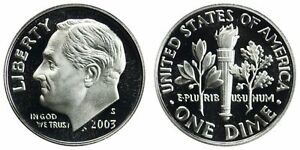 2003 S GEM BU PROOF ROOSEVELT DIME 10 CENT BRILLIANT UNCIRCULATED US COIN PF