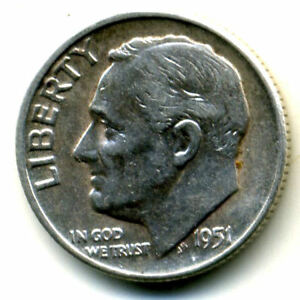 1951 P ROOSEVELT DIME SILVER 10 CENT SHARP ABOVE AVERAGE DETAIL NICE COIN1158