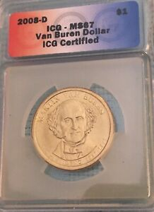 Click now to see the BUY IT NOW Price! 2008 D $1 PRESIDENTIAL DOLLAR  VAN BUREN  EDGE LETTERING POS B ICG MS67