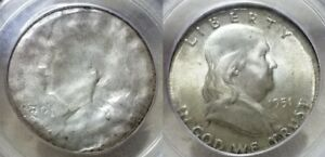 Click now to see the BUY IT NOW Price! 1951 50C FRANKLIN UNIQUE MINT ERROR STRUCK ON 25C PLANCHET & BROCKAGE PCGS 64