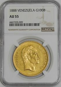 Click now to see the BUY IT NOW Price! 1888 VENEZUELA GOLD 100 BOLIVAR AU55 NGC .9334AGW   941531 1