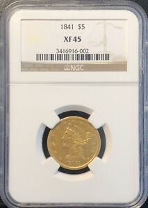 Click now to see the BUY IT NOW Price! 1841 $5 GOLD LIBERTY HALF EAGLE NO MOTTO XF 45 NGC