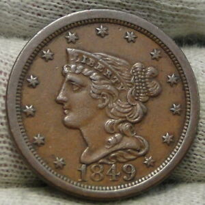 1849 BRAIDED HAIR HALF CENT    ONLY 39 864 MINTED . NICE COIN  8302