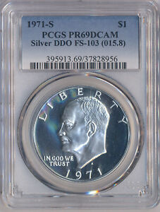 Click now to see the BUY IT NOW Price! 1971 S $1 EISENHOWER IKE SILVER DOLLAR PCGS PR69DCAM DDO FS 103  015.8 .ITEM 4