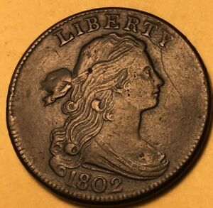 1802 LARGE CENT S 231 STEMLESS WREATH CHOICE XF