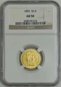 1802 $2 1/2 GOLD CAPPED BUST $2.5 AU50 NGC 942193 16