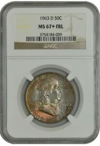 Click now to see the BUY IT NOW Price! 1963 D FRANKLIN HALF 50C MS67  FBL NGC 942736 1   BEAUTIFUL COLOR