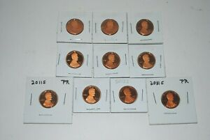 LOT OF 10 COINS 8   2010 S & 2   2011S PROOF LINCOLN SHIELD CENT