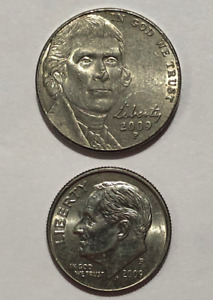 2009 P NICKEL AND 2009 P DIME   LOW MINTAGE YEAR