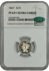 Click now to see the BUY IT NOW Price! 1867 3CN PF67  PR67  ULTRA CAMEO NGC CAC 942672 3