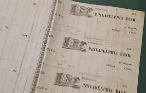 1840 ANTIQUE PHILADELPHIA BANK PA BLANK BANK CHECKS W HANDWRITTEN MEETING NOTES