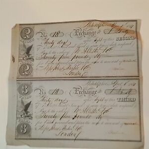 1851 ANTIQUE PHILADELPHIA BANK EXCHANGE BANKNOTE CHECK LONDON 2ND AND 3RD