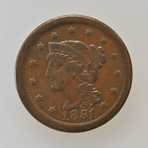 1851 UNITED STATES LARGE CENT COPPER PENNY BRAIDED HAIR PRE CIVIL WAR COIN